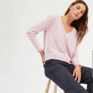 EVERLANE cashmere pink v-neck sweater small 🍁